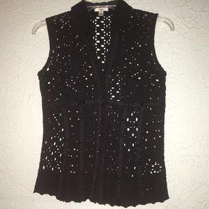 CACHE' Sz S Black Eyelet Button Up Blouse/Shirt